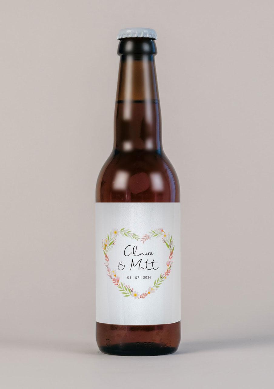 biere mariage personnalisé Couronne coeur