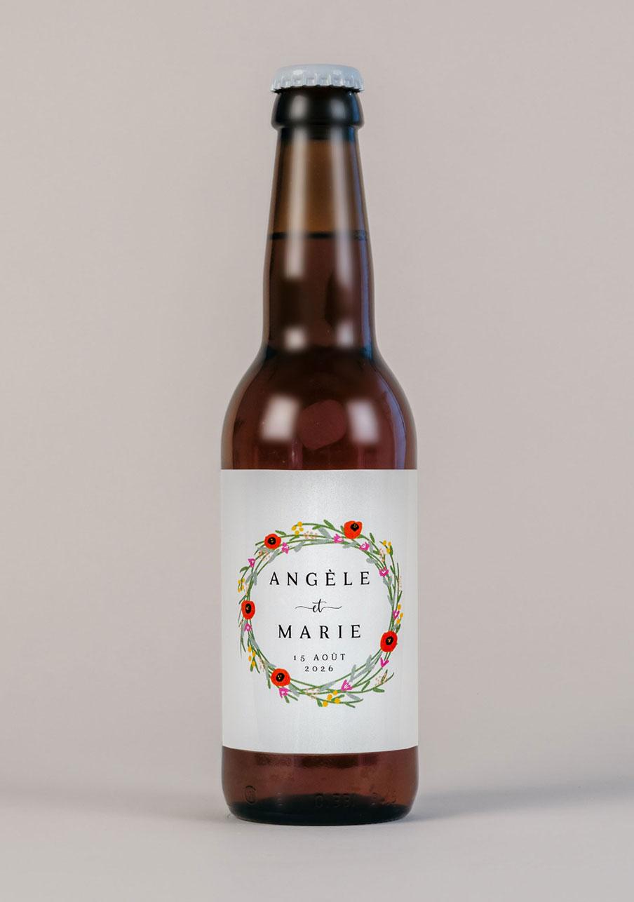 biere mariage personnalisé Couronne de fleurs