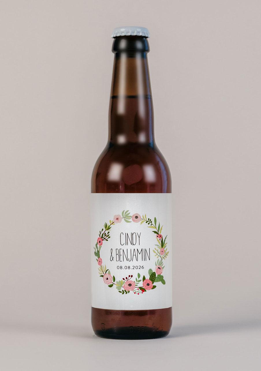 biere mariage personnalisé Fleuri rose