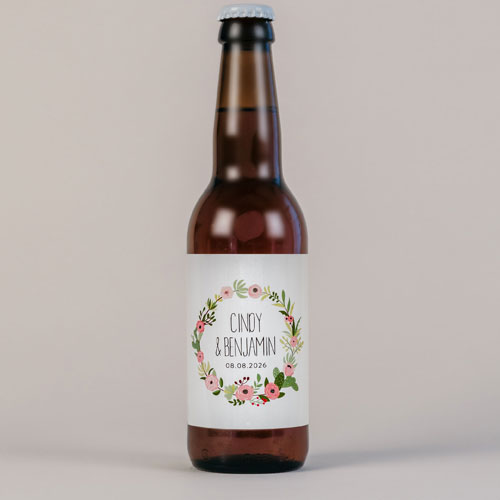 Bière de mariage fleuri-rose à personnaliser