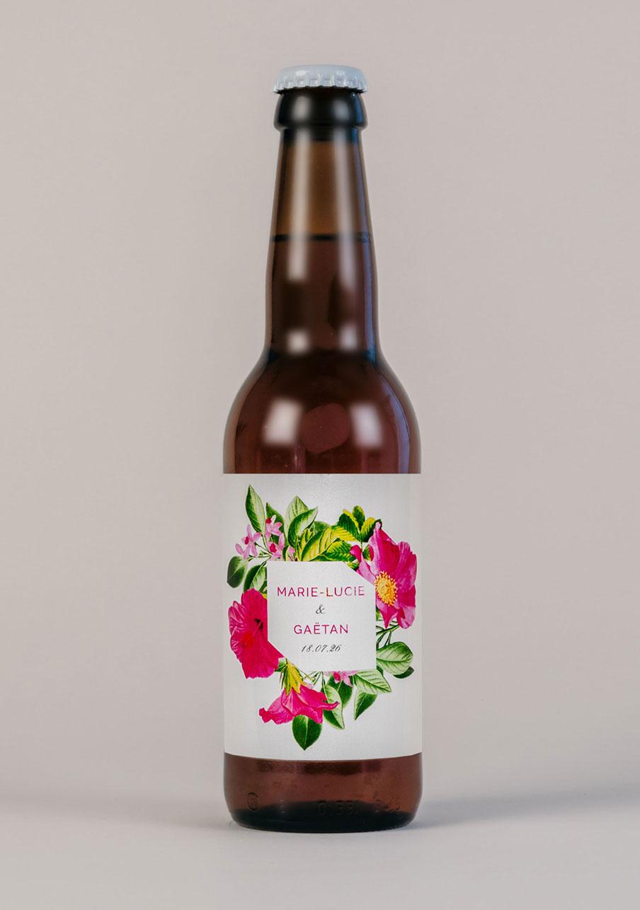 biere mariage personnalisé Floral