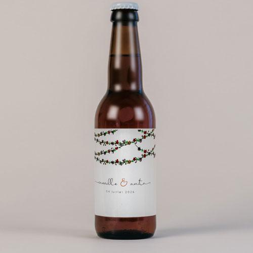 Bière de mariage guirlandes-de-fleurs à personnaliser