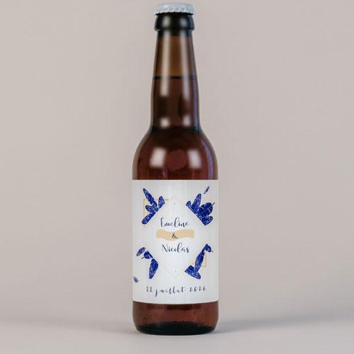 Bière de mariage plumes à personnaliser