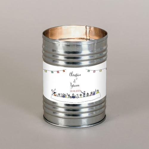 Bougie métal de mariage banquet-de-mariage à personnaliser