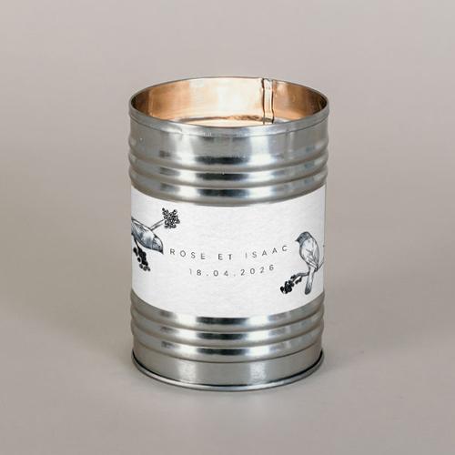 Bougie métal de mariage birds à personnaliser