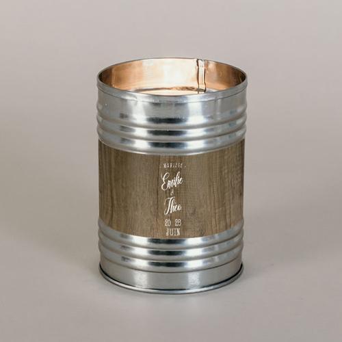 Bougie métal de mariage bois à personnaliser