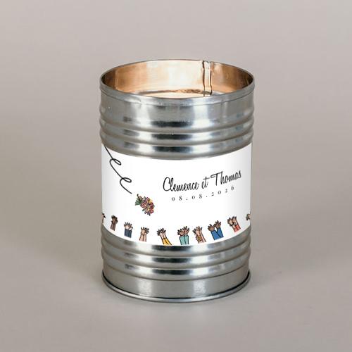 Bougie métal de mariage bouquet à personnaliser