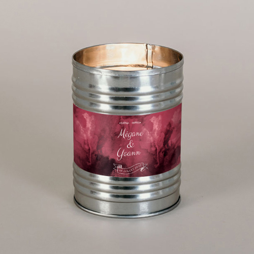 Bougie métal de mariage burgundy à personnaliser