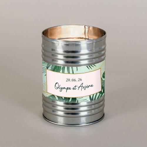 Bougie métal de mariage cadre-tropical à personnaliser