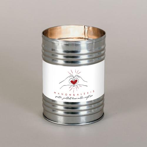 Bougie métal de mariage coeur-rouge à personnaliser