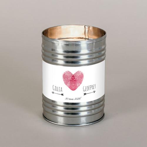 Bougie métal de mariage coeur à personnaliser