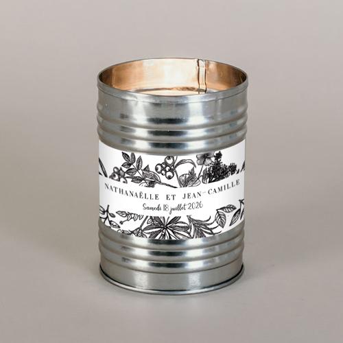 Bougie métal de mariage composition-florale à personnaliser