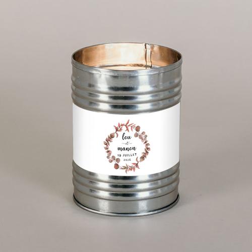 Bougie métal de mariage couronne-automnale à personnaliser