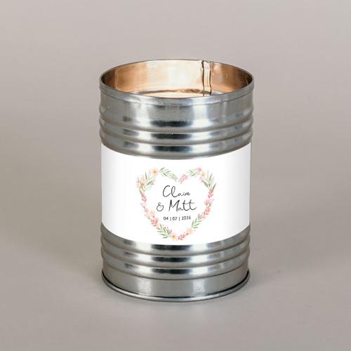Bougie métal de mariage couronne-coeur à personnaliser