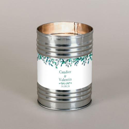 Bougie métal de mariage feuillage-delicat à personnaliser