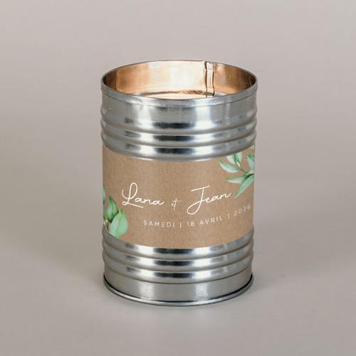 Bougie métal de mariage feuilles-kraft à personnaliser