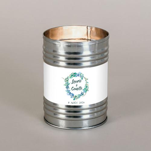 Bougie métal de mariage fleuri-bleu à personnaliser