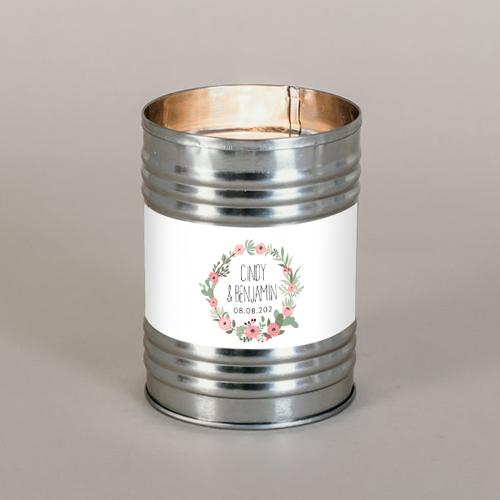 Bougie métal de mariage fleuri-rose à personnaliser