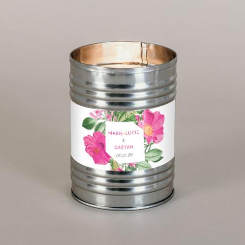 Bougie métal de mariage floral à personnaliser