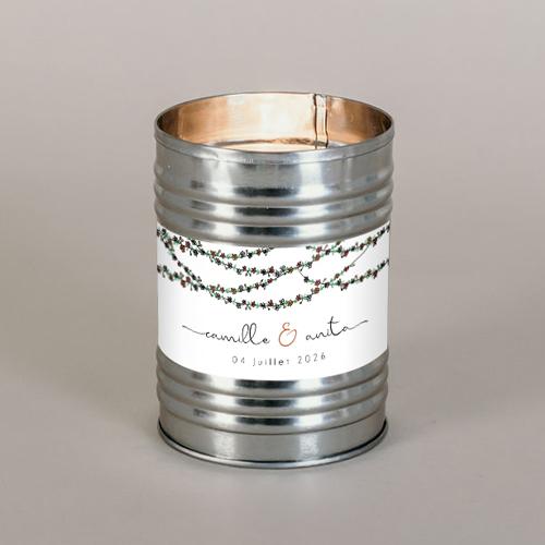 Bougie métal de mariage guirlandes-de-fleurs à personnaliser