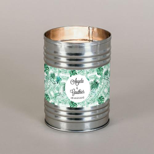 Bougie métal de mariage jungle à personnaliser