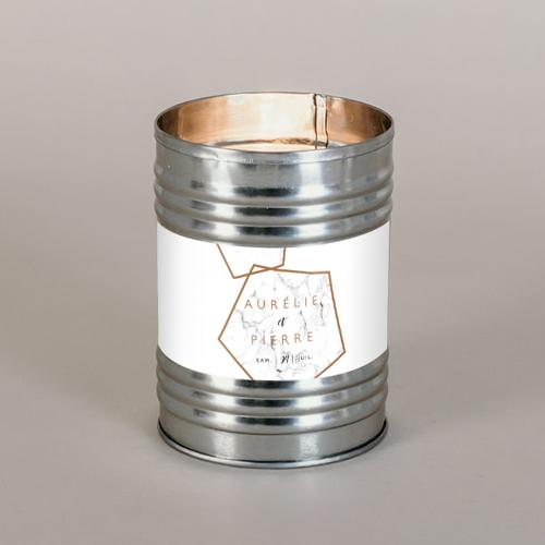 Bougie métal de mariage marbre à personnaliser