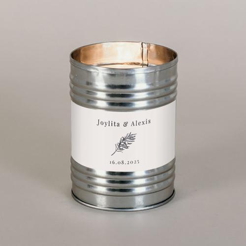 Bougie métal de mariage olivier à personnaliser