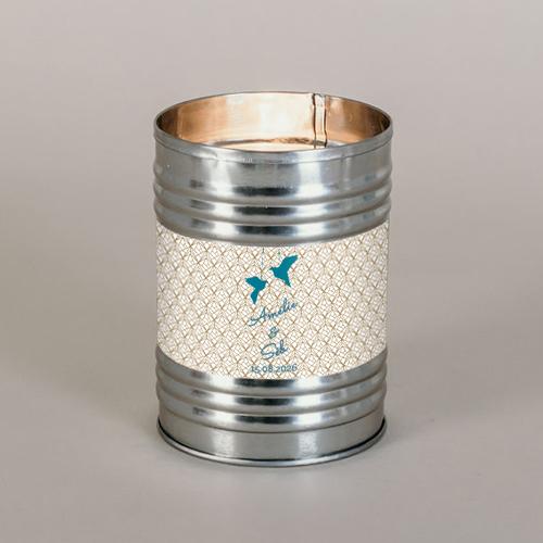 Bougie métal de mariage origami à personnaliser