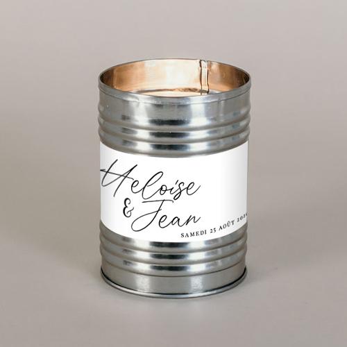 Bougie métal de mariage prenoms à personnaliser