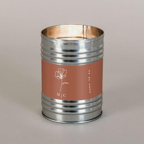 Bougie métal de mariage terracotta à personnaliser