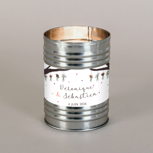 Bougie métal de mariage vases-suspendus à personnaliser