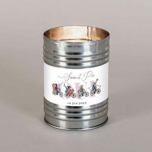 Bougie métal de mariage velos à personnaliser
