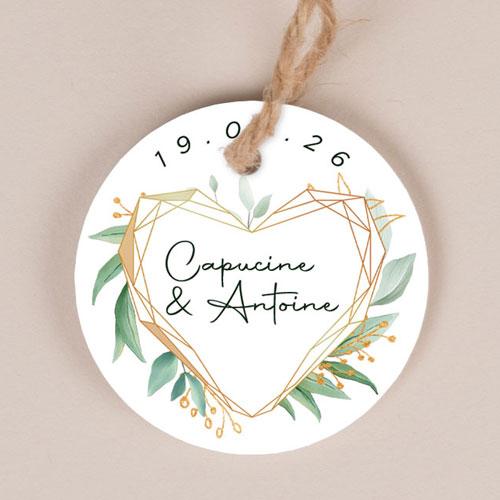 Etiquette imprimées de mariage coeur-geometrique à personnaliser
