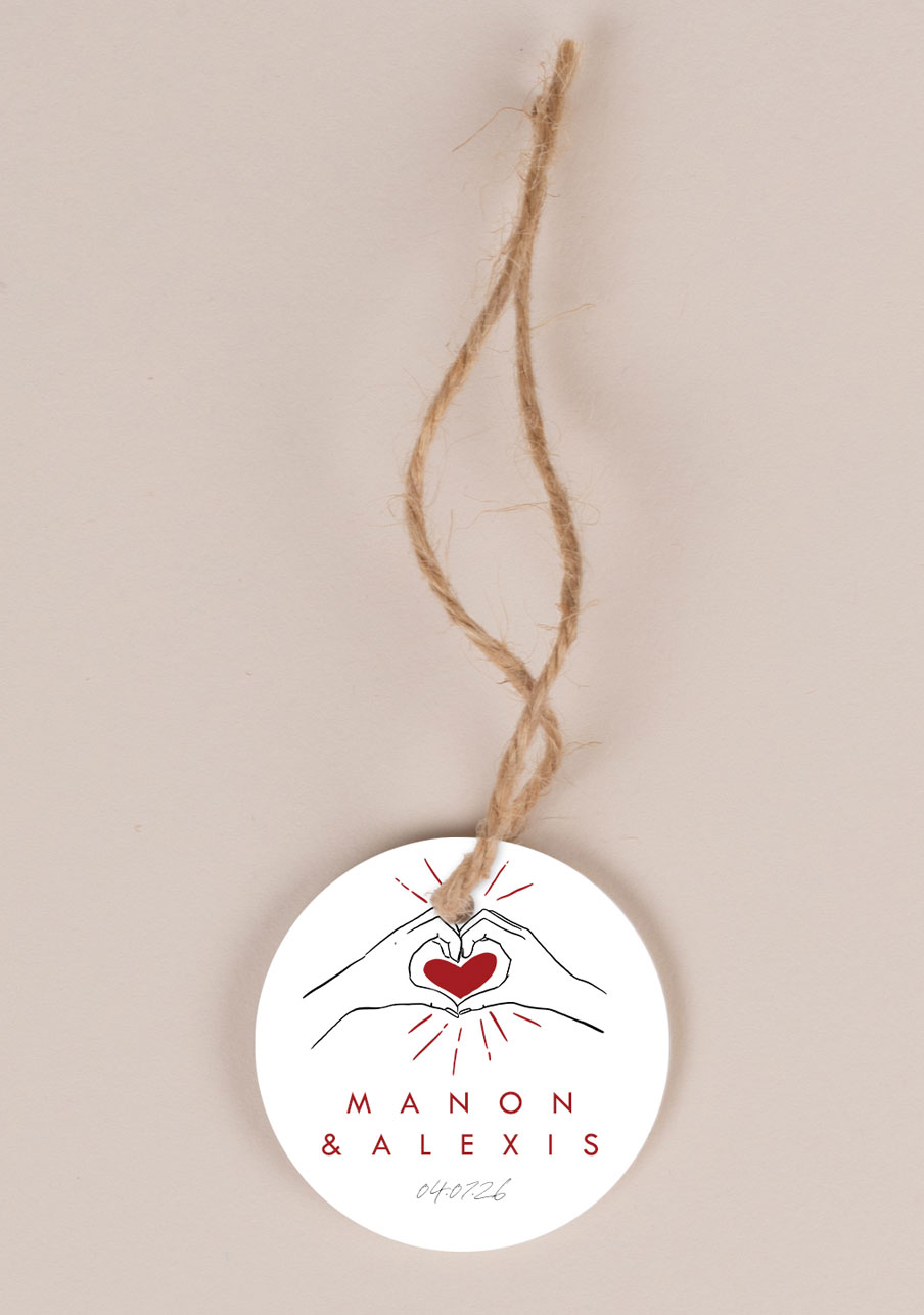 etiquette-imprimee mariage personnalisé Coeur rouge