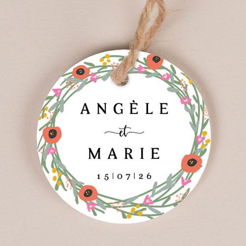 Etiquette imprimées de mariage couronne-de-fleurs à personnaliser