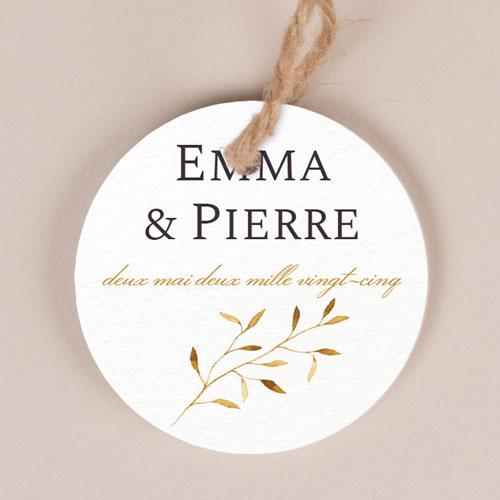 Etiquette imprimées de mariage feuilles-dorees à personnaliser