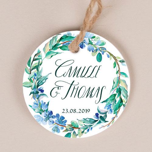 Etiquette imprimées de mariage fleuri-bleu à personnaliser