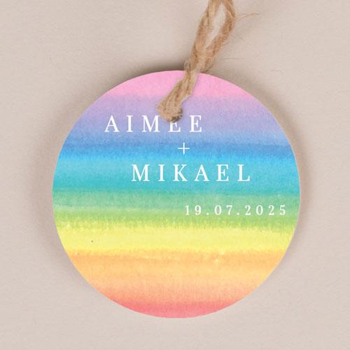 Etiquette imprimées de mariage rainbow à personnaliser
