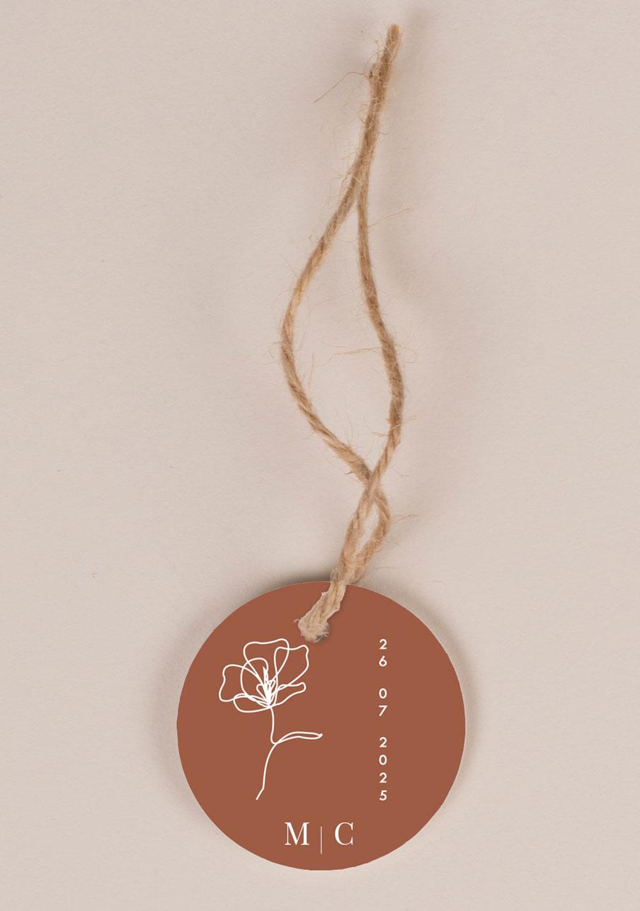 etiquette-imprimee mariage personnalisé Terracotta