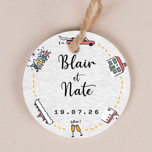 Etiquette imprimées de mariage timeline à personnaliser