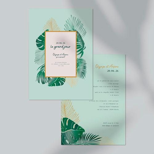 faire-part de mariage cadre-tropical à personnaliser