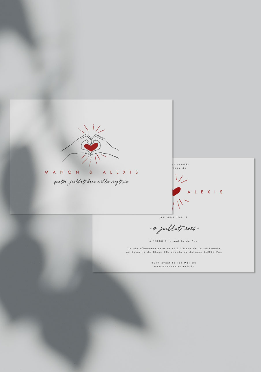 faire-part mariage personnalisé Coeur rouge