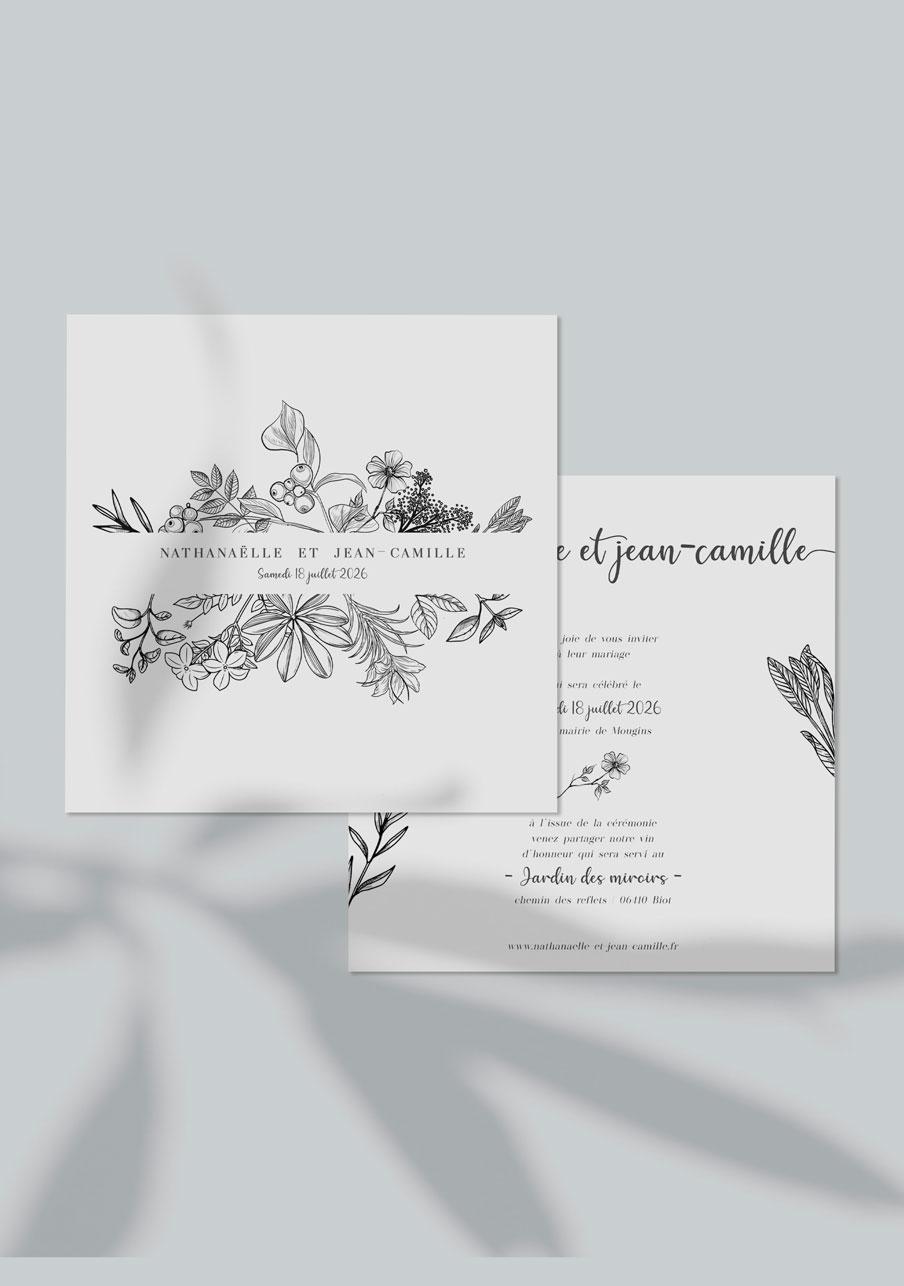 faire-part mariage personnalisé Composition florale