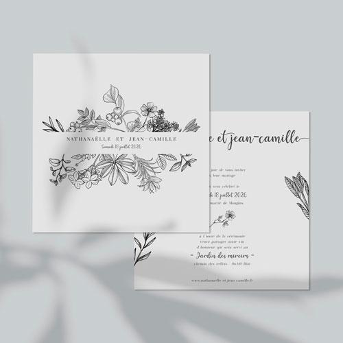 faire-part de mariage composition-florale à personnaliser