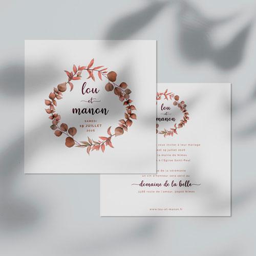 faire-part de mariage couronne-automnale à personnaliser