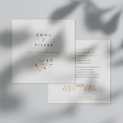 faire-part de mariage feuilles-dorees à personnaliser