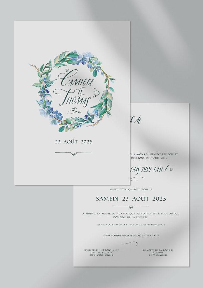 faire-part mariage personnalisé Fleuri bleu