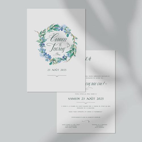 faire-part de mariage fleuri-bleu à personnaliser