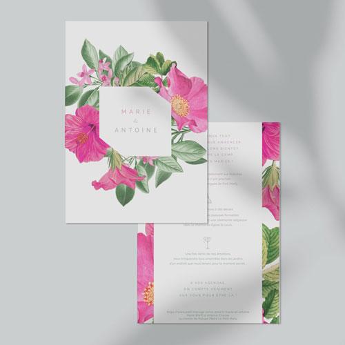 faire-part de mariage floral à personnaliser