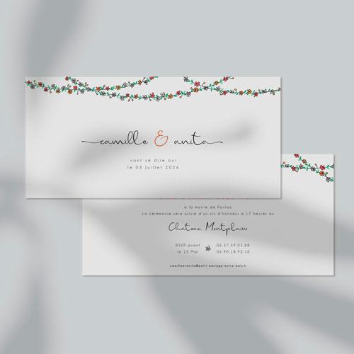 faire-part de mariage guirlandes-de-fleurs à personnaliser